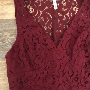 Wine Colored Lace Cocktail Dress